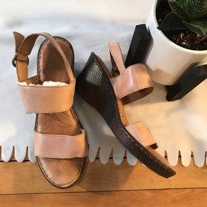 Born tan leather wedge sandals
